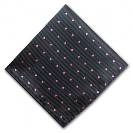 Black Pocket Square with Pink Polka Dots
